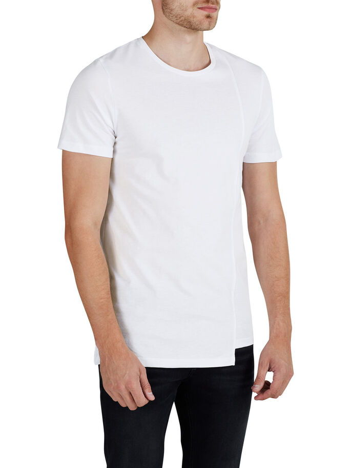LONGER LENGTH T-SHIRT, White, large