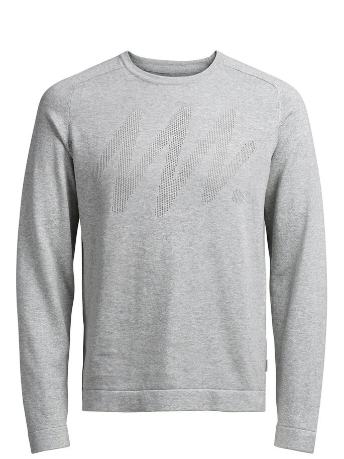 MINIMALIST DETAILED PULLOVER, Light Grey Melange, large