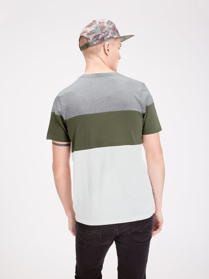 COLOUR-BLOCKING T-SHIRT, Light Grey Melange, large