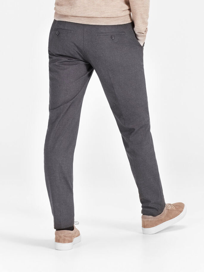 SUBTIELE GEMÊLEERDE BROEK, Dark Grey, large