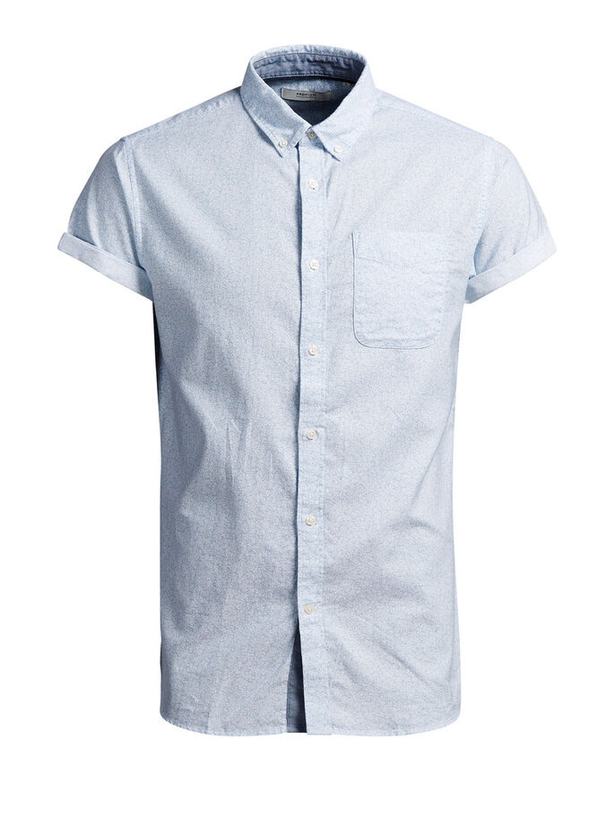 BUTTON-DOWN SHORT SLEEVED SHIRT, White, large