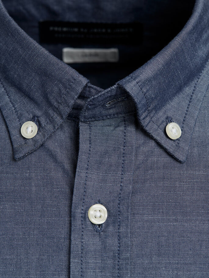 BUTTON-DOWN CAMICIA A MANICHE LUNGHE, Chambray Blue, large