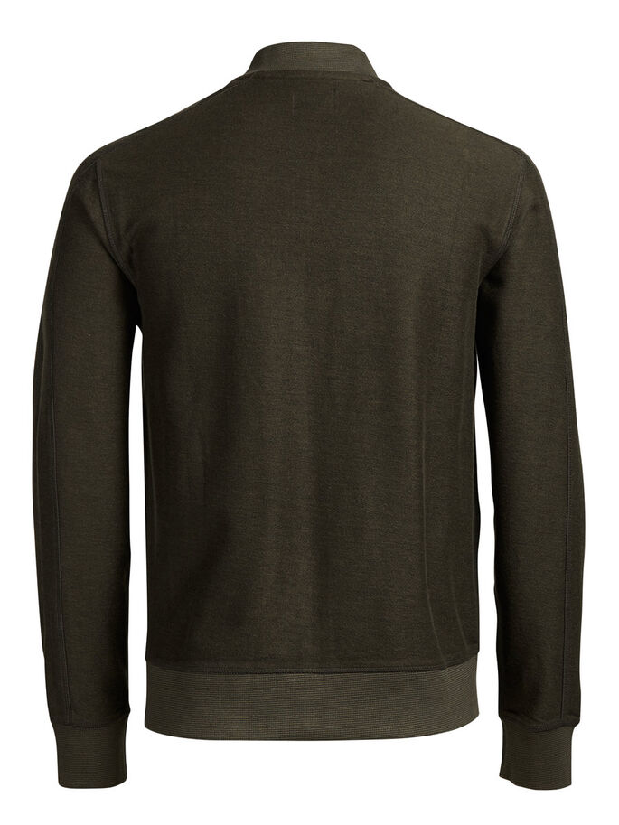 BASEBOLLINSPIRERAD SWEATSHIRT MED DRAGKEDJA, Olive Night, large