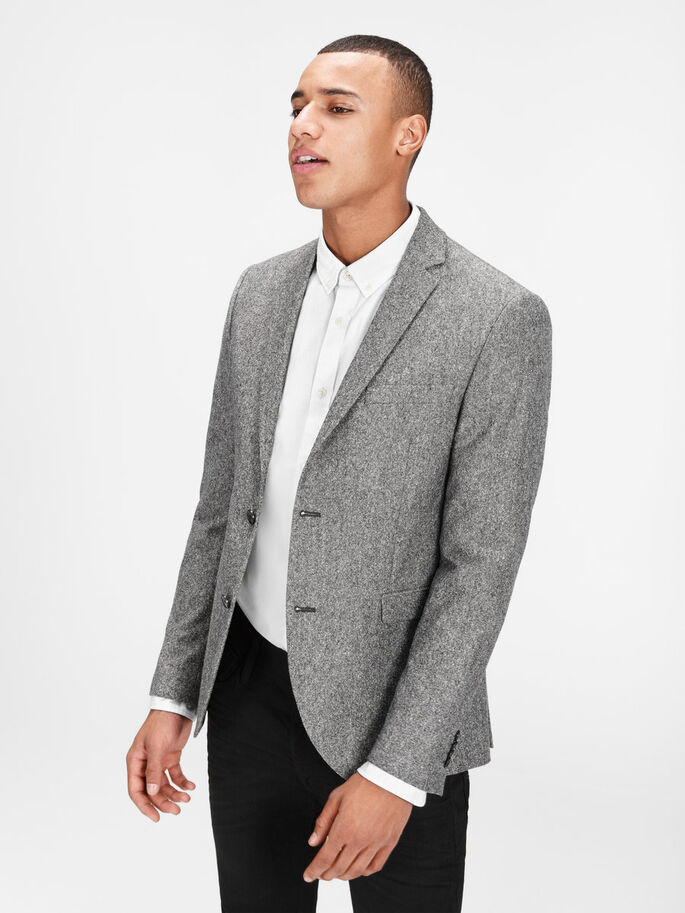 WOOL MELANGE BLAZER, Dark Grey, large