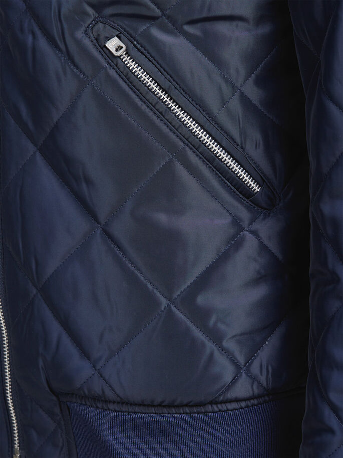 QUILTED BOMBER JACKET, Navy Blazer, large