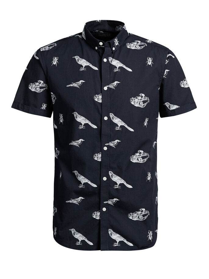 ALL-OVER PRINTED SHORT SLEEVED SHIRT, Navy Blazer, large