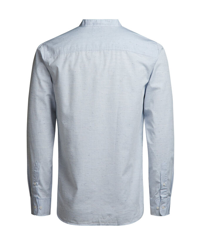 BAND COLLAR LONG SLEEVED SHIRT, Cool Grey, large