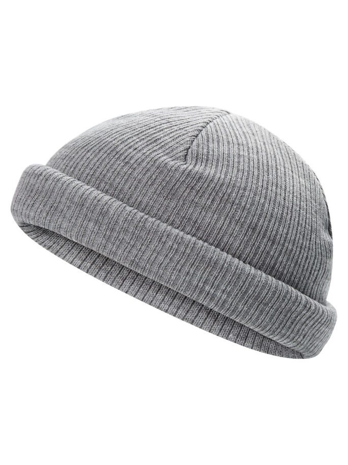 SHORT BEANIE, Light Grey Melange, large