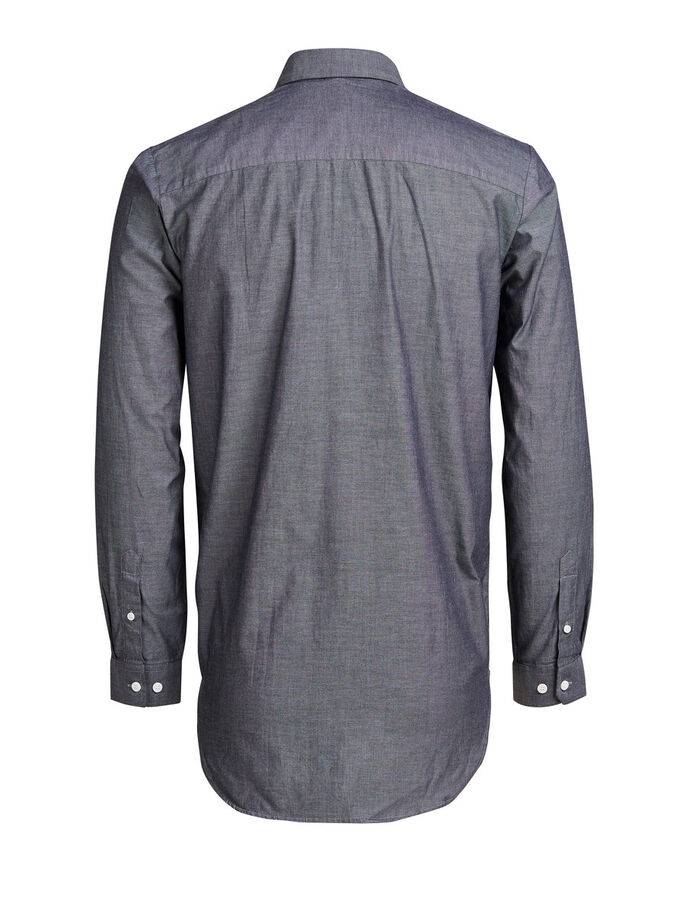 LÆNGERE FIT CASUAL SKJORTE, Dark Grey, large