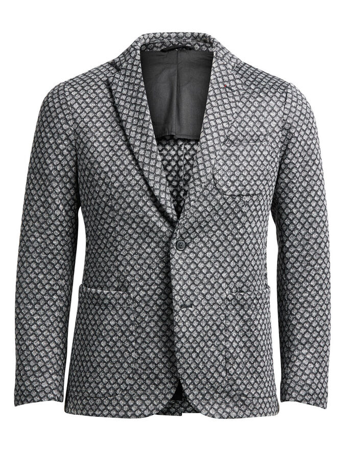 WOOL-BLEND PATTERNED BLAZER, Dark Grey, large
