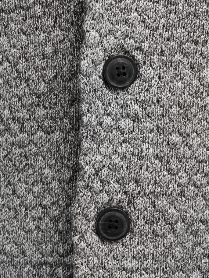 SHAWL NECK CARDIGAN, Grey Melange, large
