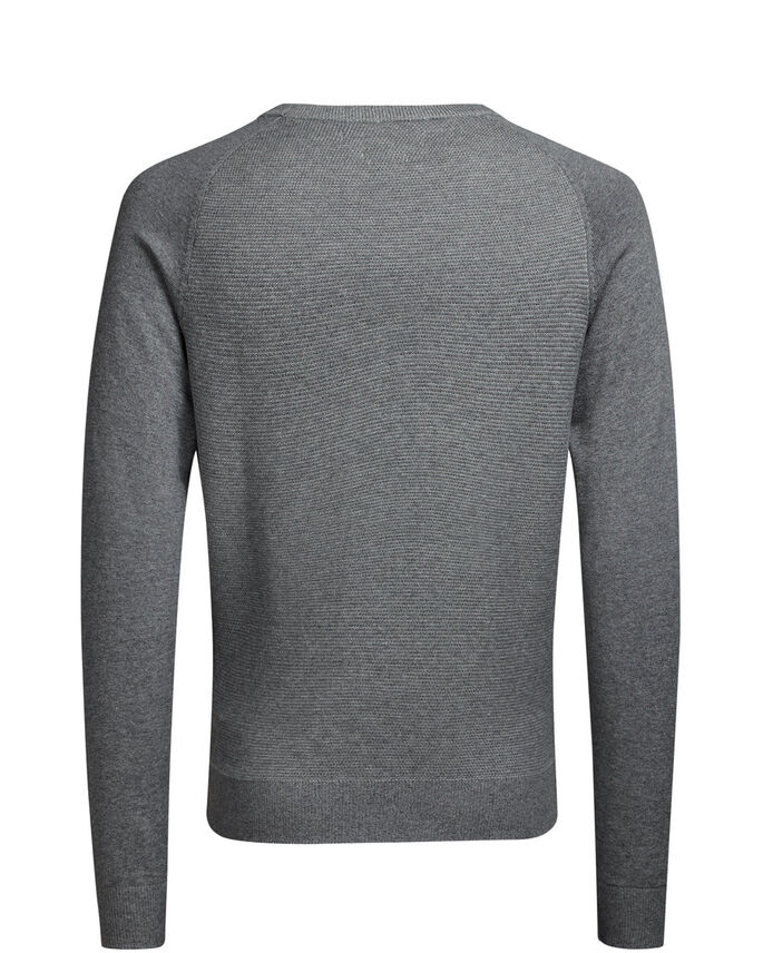 RAGLAN KNITTED PULLOVER, Grey Melange, large