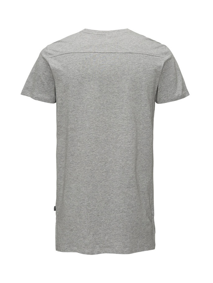 LONG FIT T-SHIRT, Light Grey Melange, large