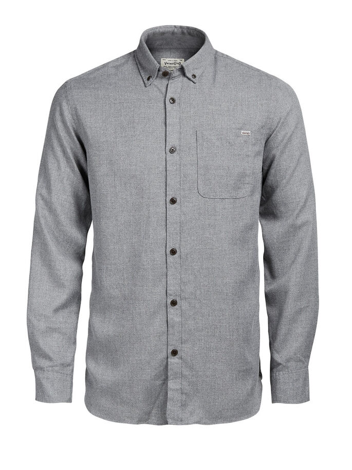BUTTON-DOWN OVERHEMD MET LANGE MOUWEN, Grey Melange, large