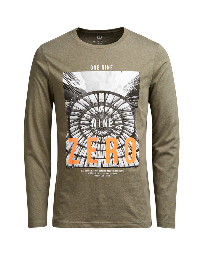 GRAPHIC LONG-SLEEVED T-SHIRT, Dusty Olive, large
