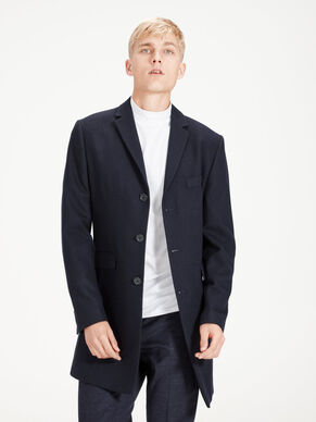 WOOL-BLEND NOTCHED LAPEL COAT