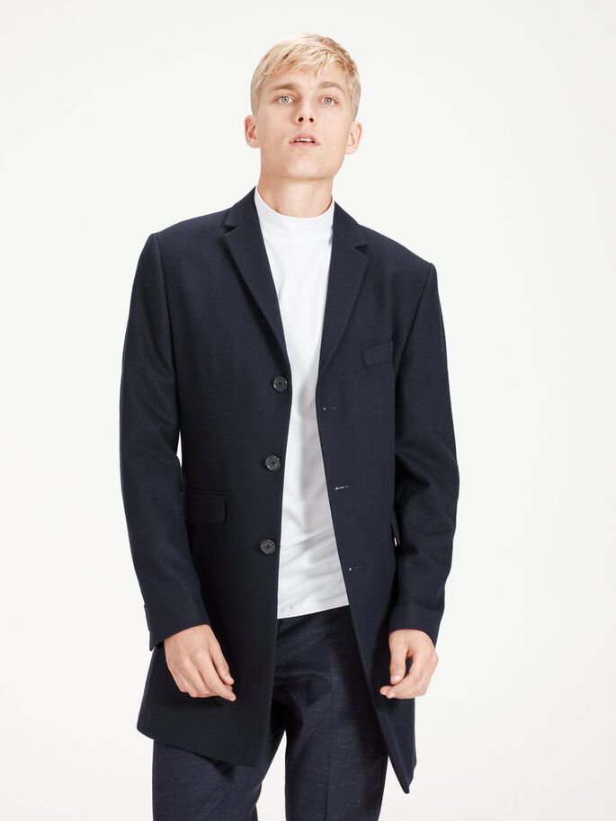 WOOL-BLEND NOTCHED LAPEL COAT, Dark Navy, large