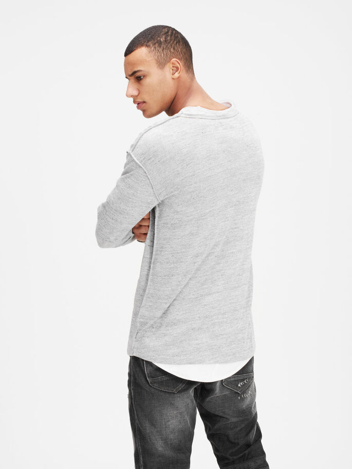LIGHT LONG-SLEEVED T-SHIRT, Light Grey Melange, large