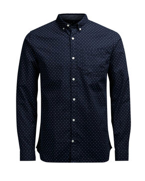 MØNSTRET BUTTON-DOWN OXFORD LANGÆRMET SKJORTE
