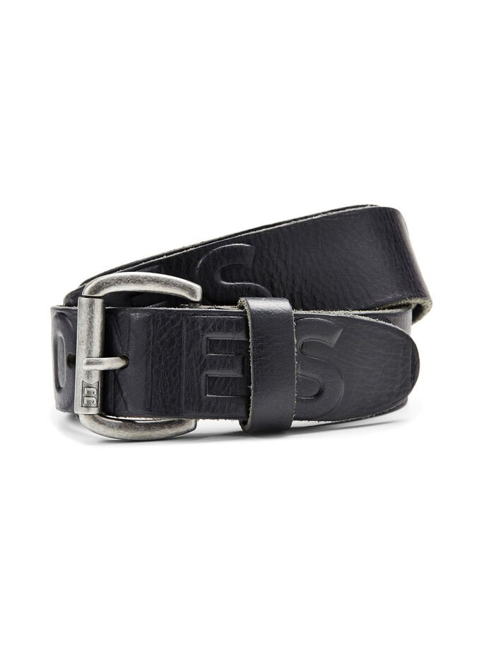 BRANDED LEATHER BELT, Black, large