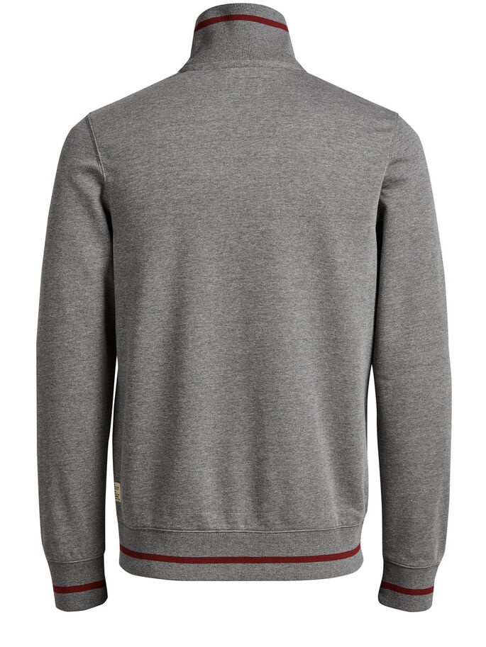 HIGH NECK ZIPPED SWEAT, Grey Melange, large