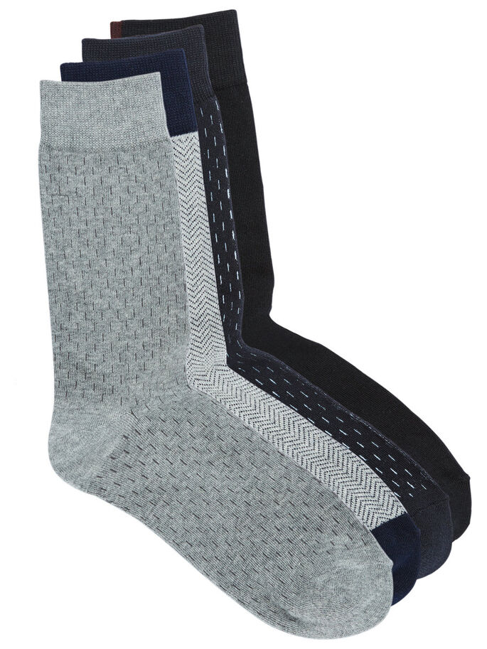 4-PACK SOCKS, Grey Melange, large
