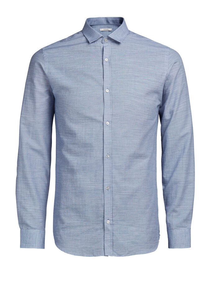 SPREAD COLLAR LONG SLEEVED SHIRT, Chambray Blue, large