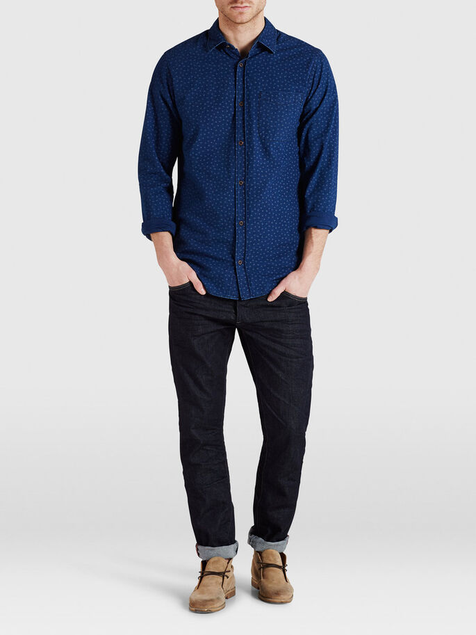 INDIGO DYED CASUAL SHIRT, Mood Indigo, large