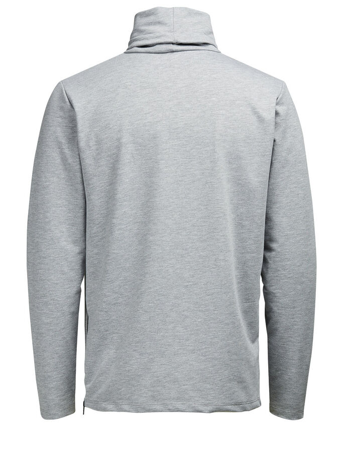 HIGH NECK SWEATSHIRT, Light Grey Melange, large