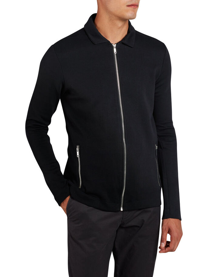 MINIMAL ZIPPED SWEAT, Black, large
