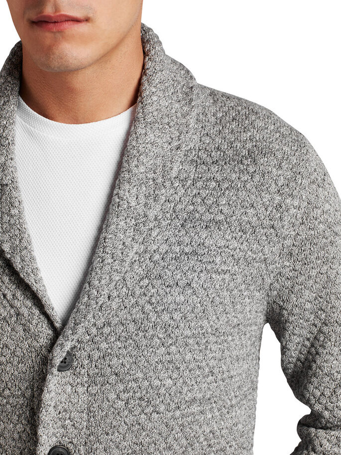 CON COLLO SCIALLATO CARDIGAN, Grey Melange, large