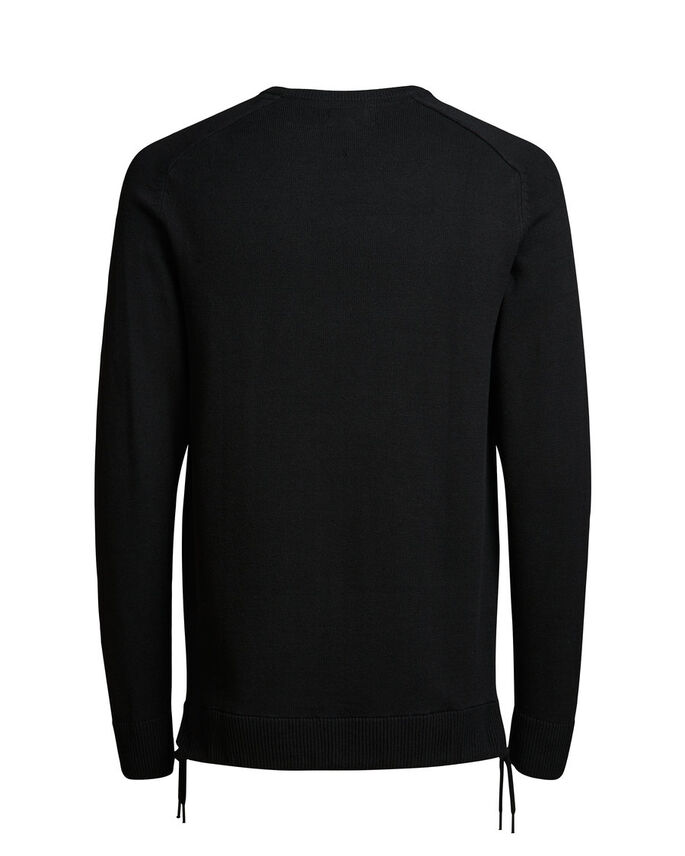 DETAILED KNITTED PULLOVER, Black, large