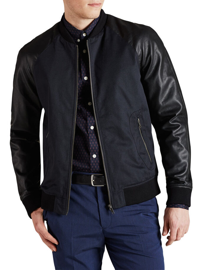 FAUX LEATHER MOUWEN BOMBER JAS, Dark Navy, large