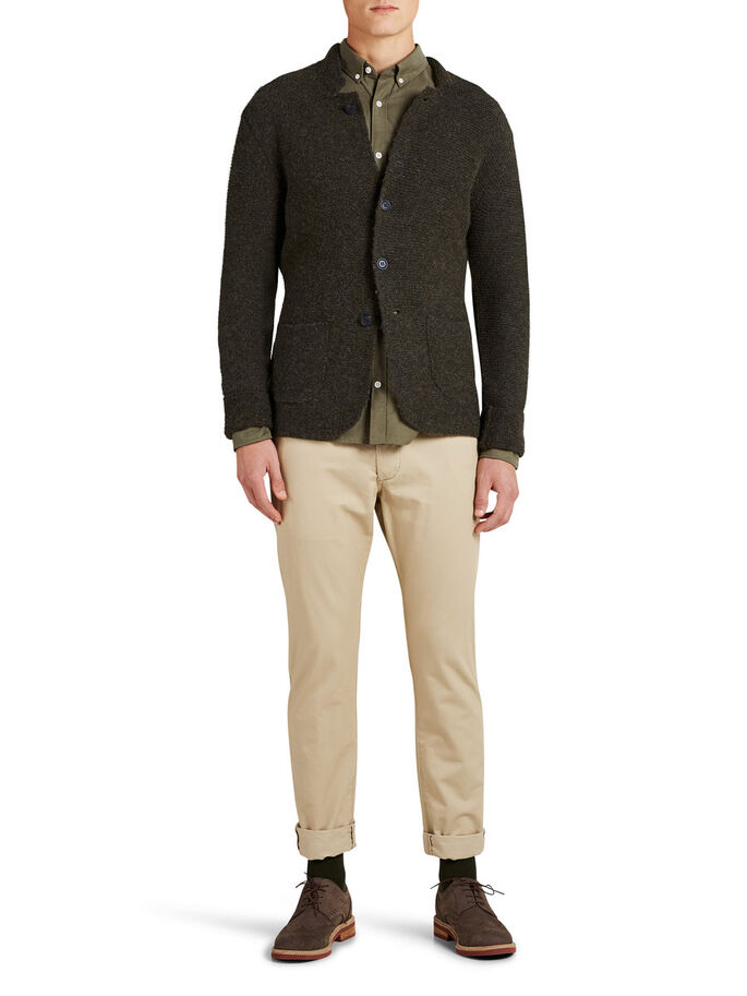 BLAZER-STYLE- STRICKJACKE, Olive Night, large