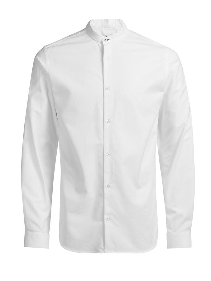 DE CUELLO MAO CAMISA DE MANGA LARGA, White, large