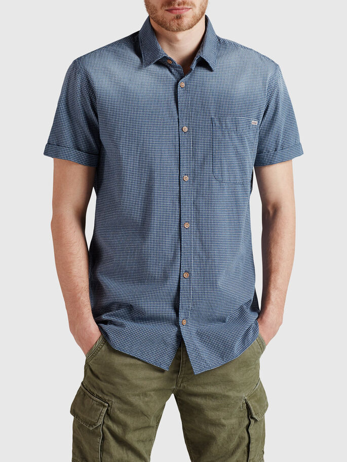 CASUAL CHECK SHORT SLEEVED SHIRT, Mood Indigo, large
