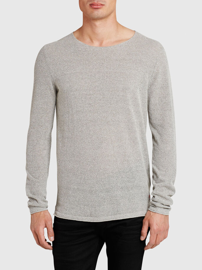LÆNGERE FIT LET PULLOVER, Light Grey Melange, large