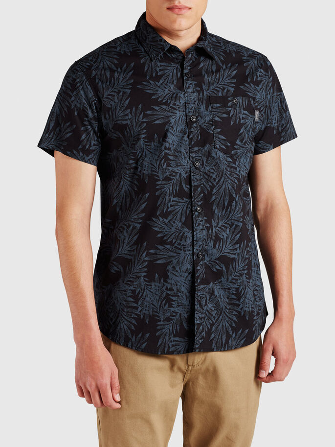 LEAF SHORT SLEEVED SHIRT, Black, large