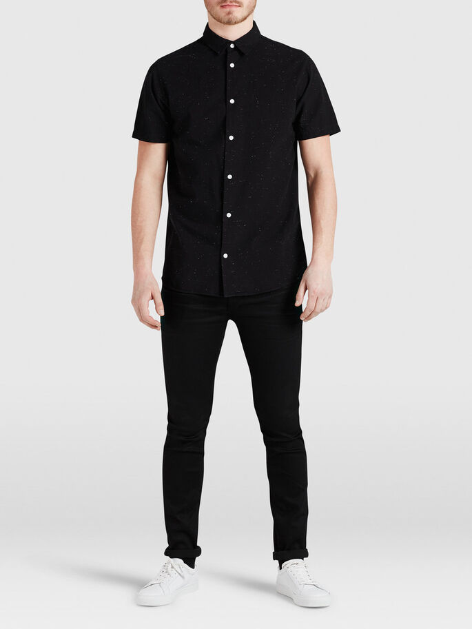 SHARP SHORT SLEEVED SHIRT, Black, large
