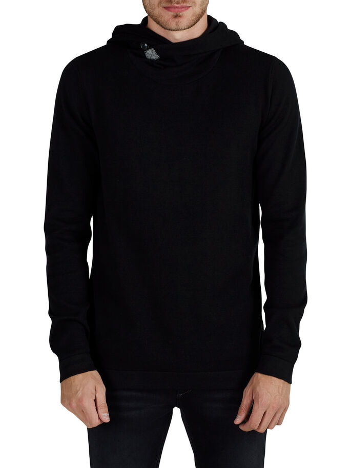 LIGHT KNITTED PULLOVER, Black, large
