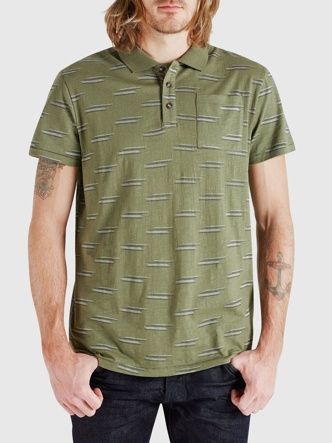 PATTERNED POLO SHIRT, Olivine, large