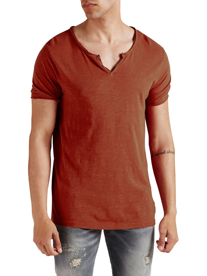 SPLIT-NECK- T-SHIRT, Bossa Nova, large