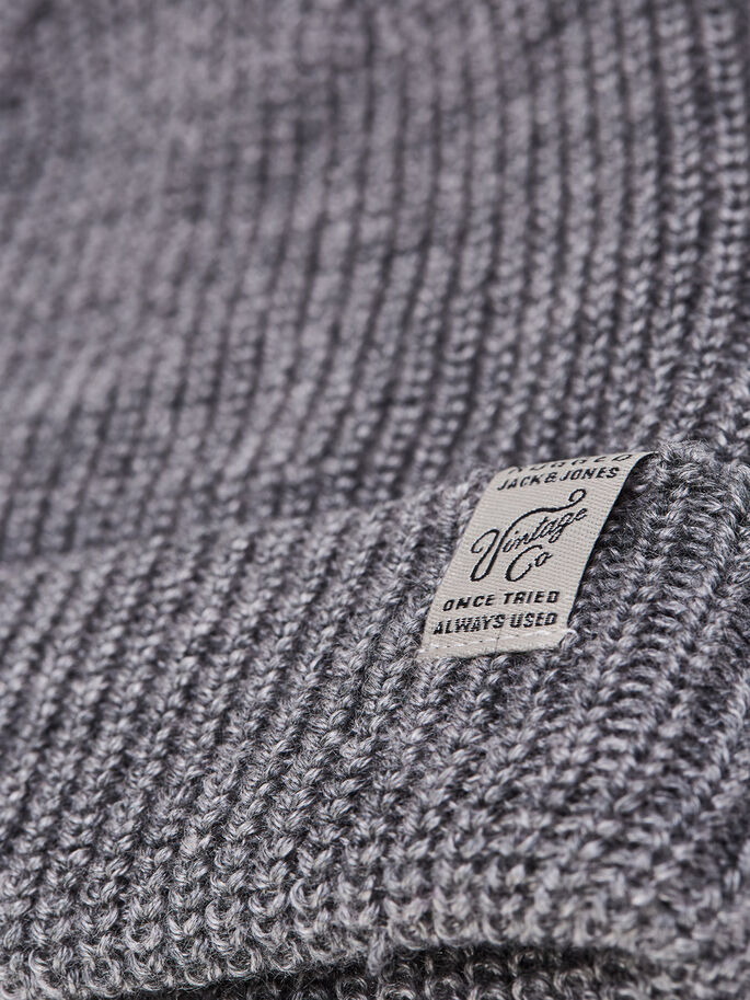 RUGGED BEANIE, Grey Melange, large