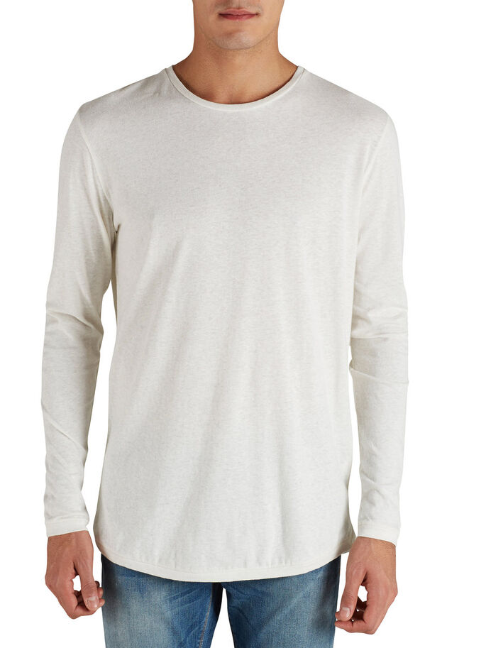 COOL LINEN BLEND LONG-SLEEVED T-SHIRT, Whisper White, large