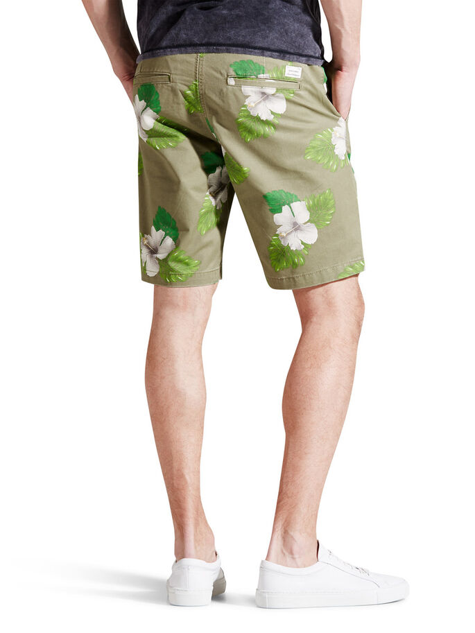 PRINTEDE CHINOSHORTS, Deep Lichen Green, large