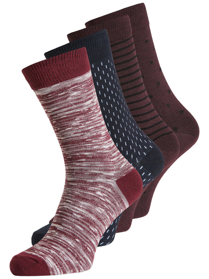 CLASSIC 4-PACK SOCKS, Burgundy, large