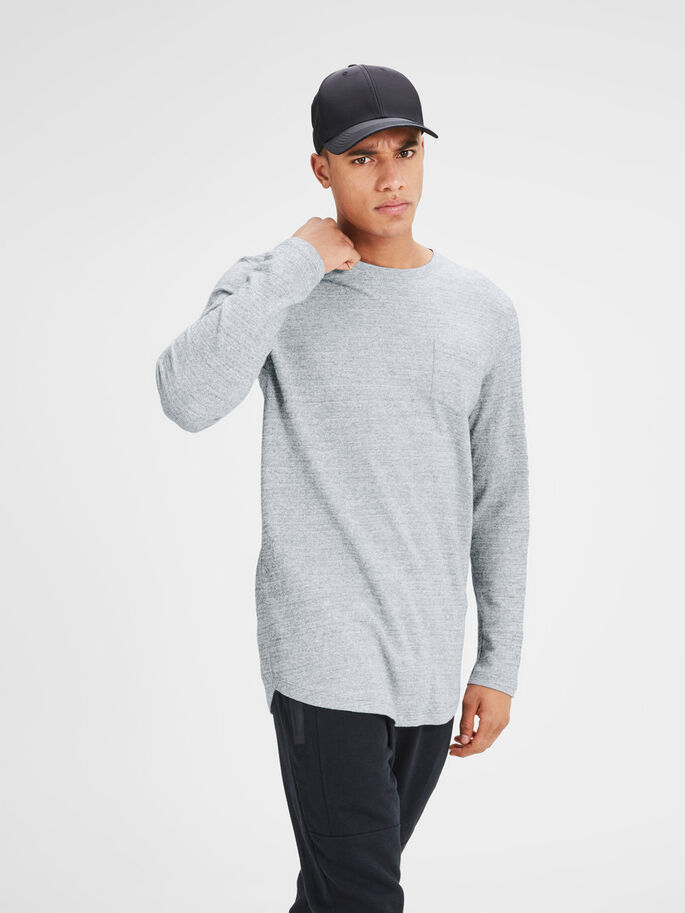 VERSATILE LONG-SLEEVED T-SHIRT, Light Grey Melange, large