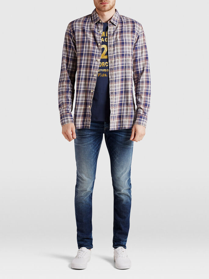 CHECKED CASUAL SHIRT, Mood Indigo, large