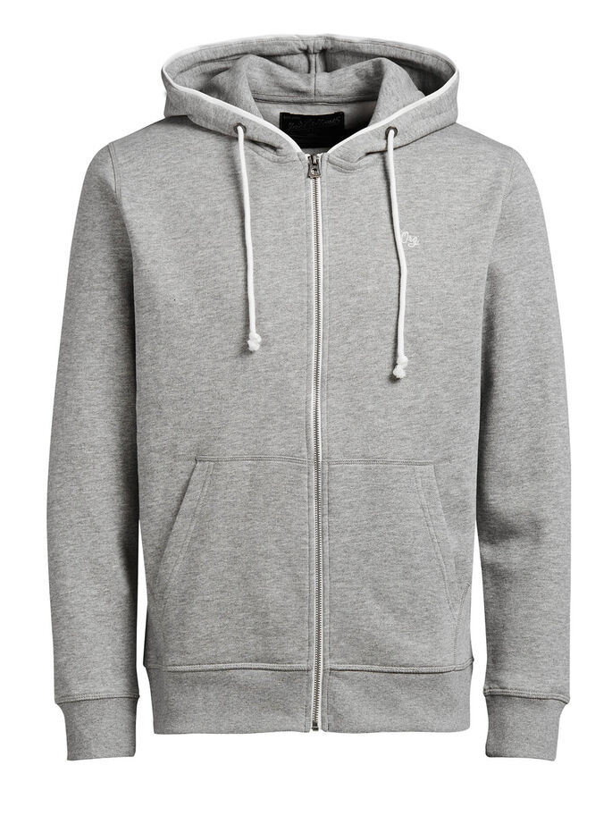 SWEAT ZIP HOODIE, Light Grey Melange, large