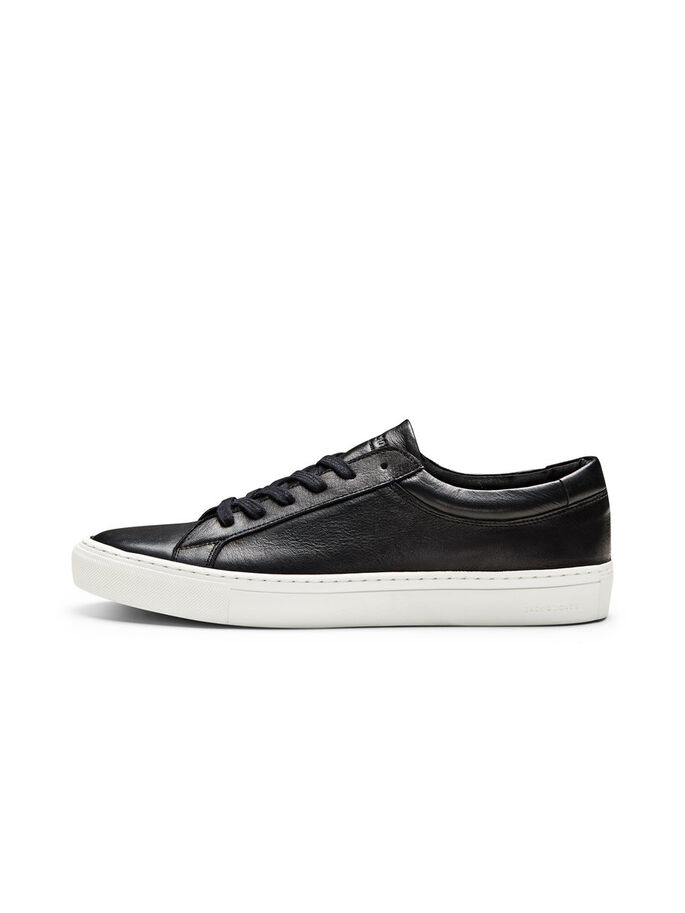 CASUAL LEATHER TRAINERS, Anthracite, large